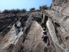 Rock Climbing Photo: Armando Dattoli at the opening moves of Diedro Neg...