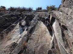 Rock Climbing Photo: Armando Dattoli on the crux roofs of Diedro Negro....