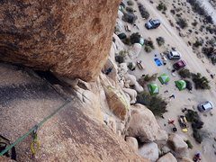 Rock Climbing Photo: Leading partway up South Buttress.  Anchored previ...