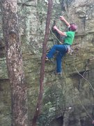 Rock Climbing Photo: Working the moves on the moss covered Tormentor