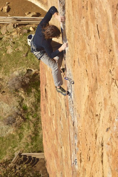 Rock Climbing Photo: Upper crux due to pump - 1st pitch