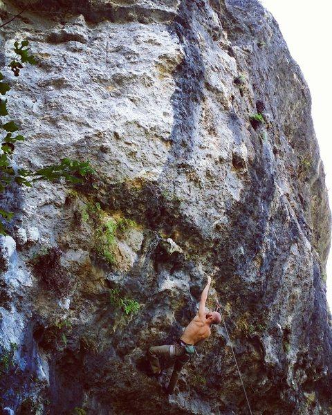 Low crux boulder problem of Irreverent Youth