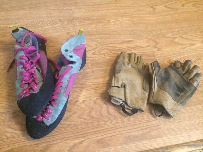 Rock Climbing Photo: shoes and gloves