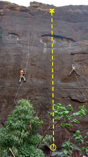 Rock Climbing Photo: The route is in middle of the two climbers in the ...