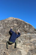 Rock Climbing Photo: Carter speeds up to the topout on a particularly w...
