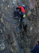 Rock Climbing Photo: Getting established on the slab above the initial ...