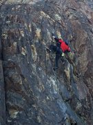 Rock Climbing Photo: Working the moves in the shallow dihedral on &quot...
