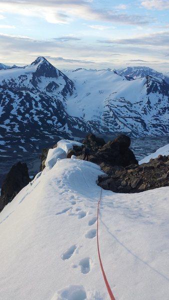 Climbing around Iceberg Lake Alaska