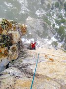 Rock Climbing Photo: Crux pitch of the IB route in exciting alpine cond...