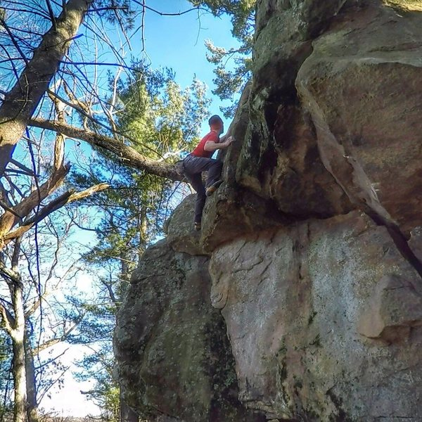 Rock Climbing Photo: Squeezing my way to the top.