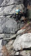 Rock Climbing Photo: Middle of the climb.  Start just off the hiking pa...