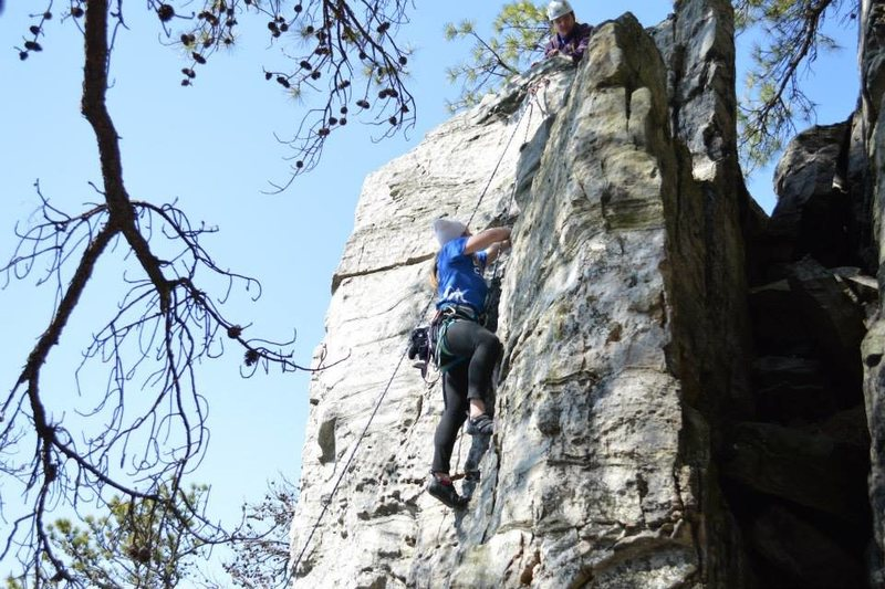 Rock Climbing Photo: Top of climb.  End on the furthest right bolts of ...