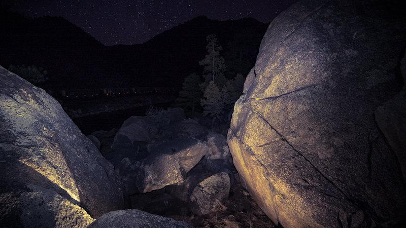 Bootlegger Bouldering Area night photo.