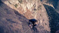 Rock Climbing Photo: Jake Reaves climbing topping out the first pitch o...