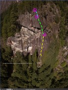 Rock Climbing Photo: Overview shot of the three pitches of Meadow and S...