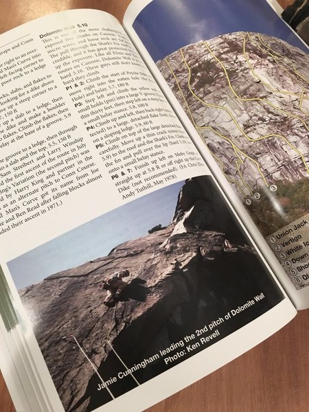 """The caption on this photo is incorrect. It is Ken Reville (that's with an """"e"""" on the end) climbing The Dolomite Wall (5.10) on Cannon Cliff, and it is I who made the photo way back in 1984."""