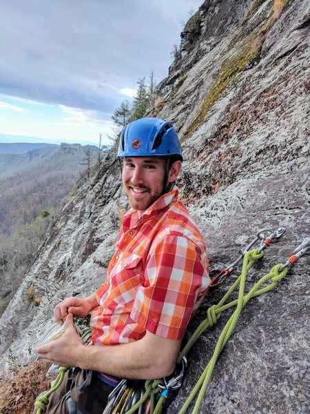 P3 belay at lunch ledge - thus partner is eating