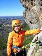 Rock Climbing Photo: Wife at belay ledge. Next pitch continues up above...