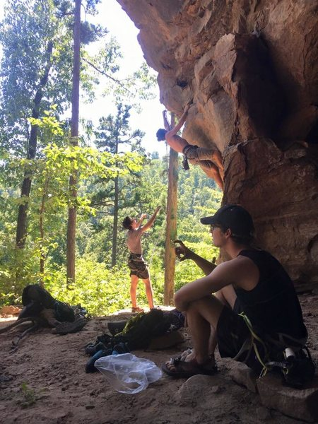 Rock Climbing Photo: Who needs a stick clip when your friend is super t...