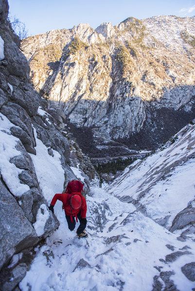 Hiking up to Perla's Ridge Ice.