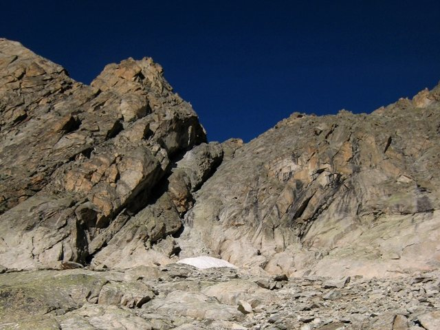 Rock Climbing Photo: Start of Voie du Nain (right and above the snowfie...