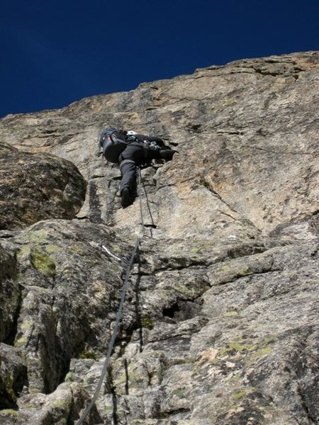 Patty Black climbs the steep second pitch of Voie du Nain