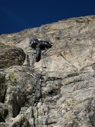 Rock Climbing Photo: Patty Black climbs the steep second pitch of Voie ...