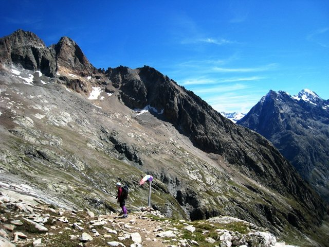 Trail back to the hut following summit of Aiguille Dibona