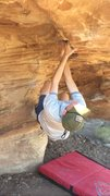 Rock Climbing Photo: From the flake to the big move