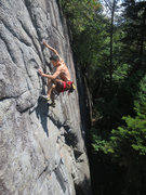 Rock Climbing Photo: Just after the crux on Not Too Steep for My Lichen...