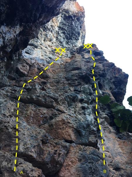 Rock Climbing Photo: Luna Del Miel (A) and Los Payasos (B) at Sector Pa...