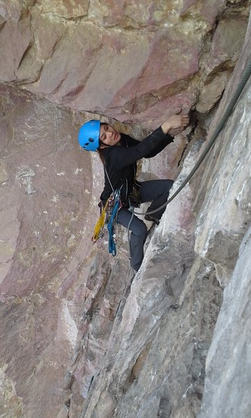 """Traverse above the roof on the second pitch of """"El Vivac"""". 5.8"""