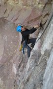 Rock Climbing Photo: Traverse above the roof on the second pitch of &qu...