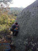 Rock Climbing Photo: Jed on a heinous little 5.11 seam around Sherwood ...