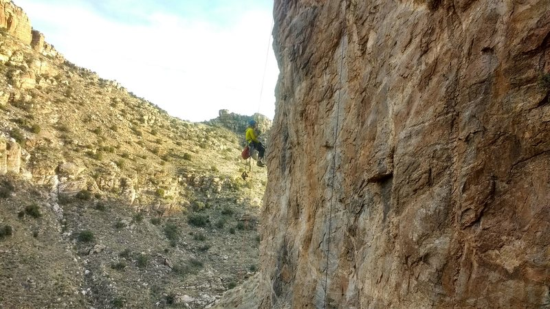 Rock Climbing Photo: Luke, workin on the expansion pack
