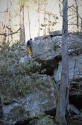 """Rock Climbing Photo: Elijah Kiser topping out """"Down for the Count&..."""