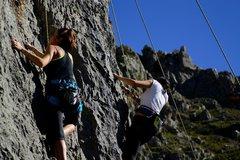 Rock Climbing Photo: beautiful girls and sun!