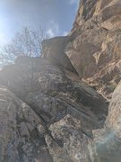 Rock Climbing Photo: looking up the slab and the zig zagging dihedral f...