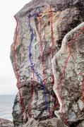 Rock Climbing Photo: A. Weltering Splash (5.9+) B. Land Shark (5.10d) C...