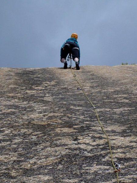 Rock Climbing Photo: Carol Petrelli sprintin' up the fine friction ...