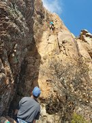 Rock Climbing Photo: Michael is approaching the crux near the top of th...
