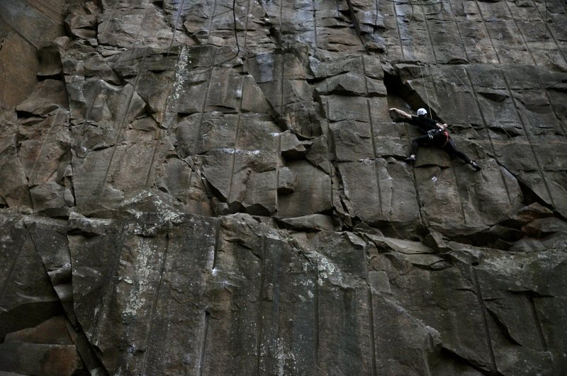 Rock Climbing Photo: Greg pushes on. He previously climbed this on trad...