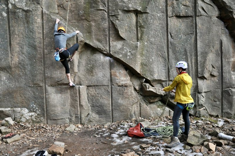 Rock Climbing Photo: Renne starting up Morphine on a balmy February day...