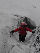Rock Climbing Photo: Climbing a wall with snow, ice and rock on El Alta...