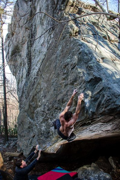 Luke sticking the final crux of The Vandal