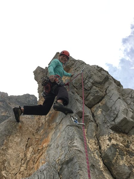 The last pitch on Access Denied, take a right at the second bolt and head up the exposed face on jugs to the ridge line.