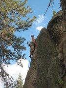 Rock Climbing Photo: Heading for the anchors on Powder Keg (5.10a), Hol...