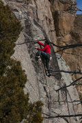 Rock Climbing Photo: J. Tarry on the final moves to the anchor.