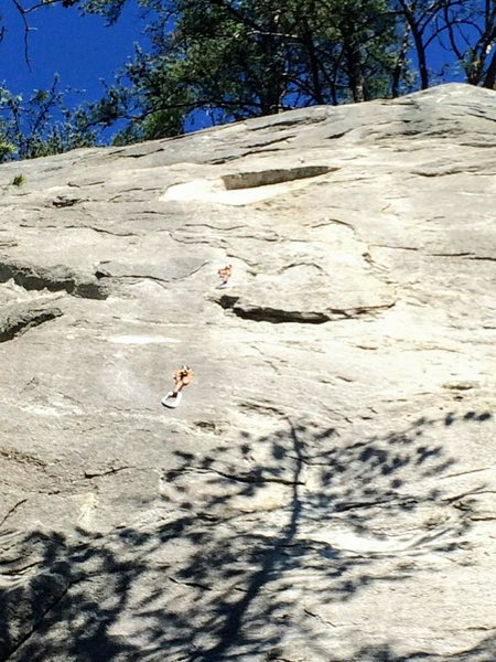 Rock Climbing Photo: Flake is gone above 4th bolt (clean white area in ...