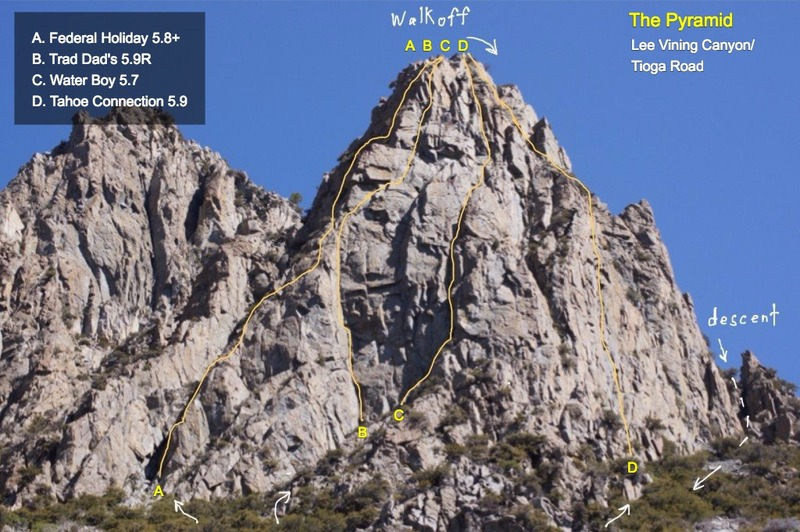 The Pyramid showing the lines of the routes. Courtesy: Eric Gabel